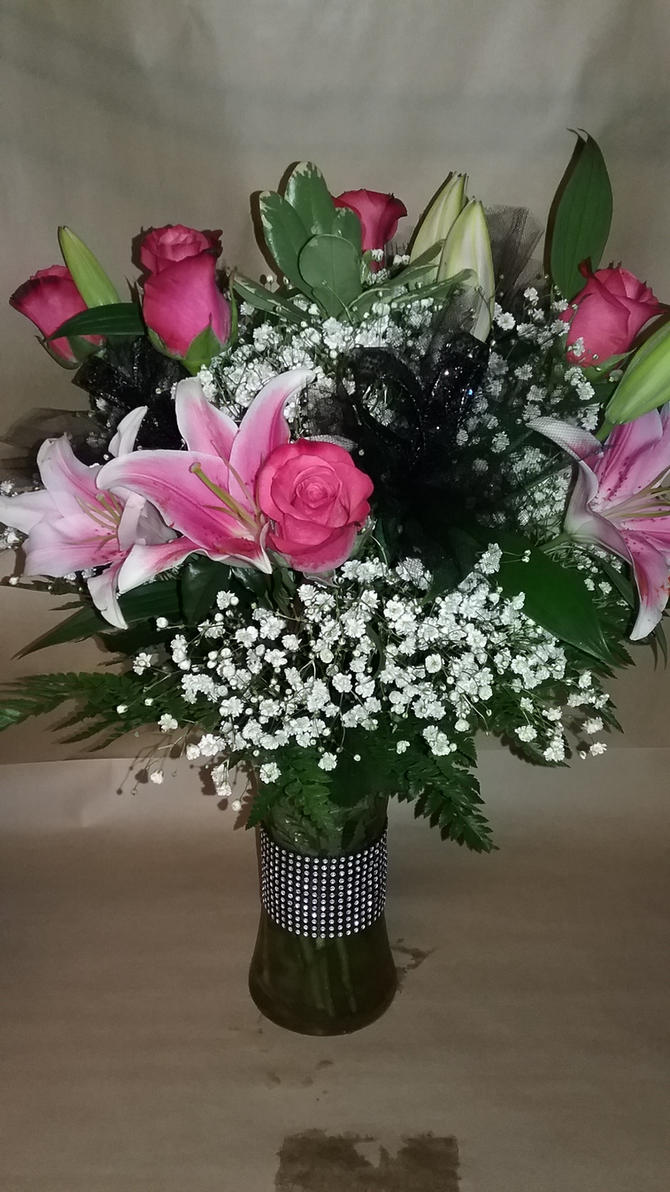 Hot Pink Bling Rose Lily Arrangement By Pippierafrostlin On Deviantart