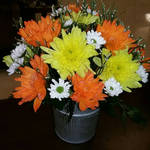 Small Tin Orange and Yellow Mum Arrangement  by pippierafrostlin