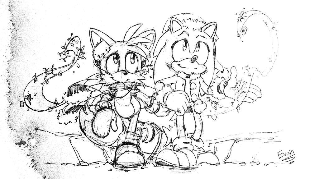 EVAN's Sonic and Tails by darkspeeds