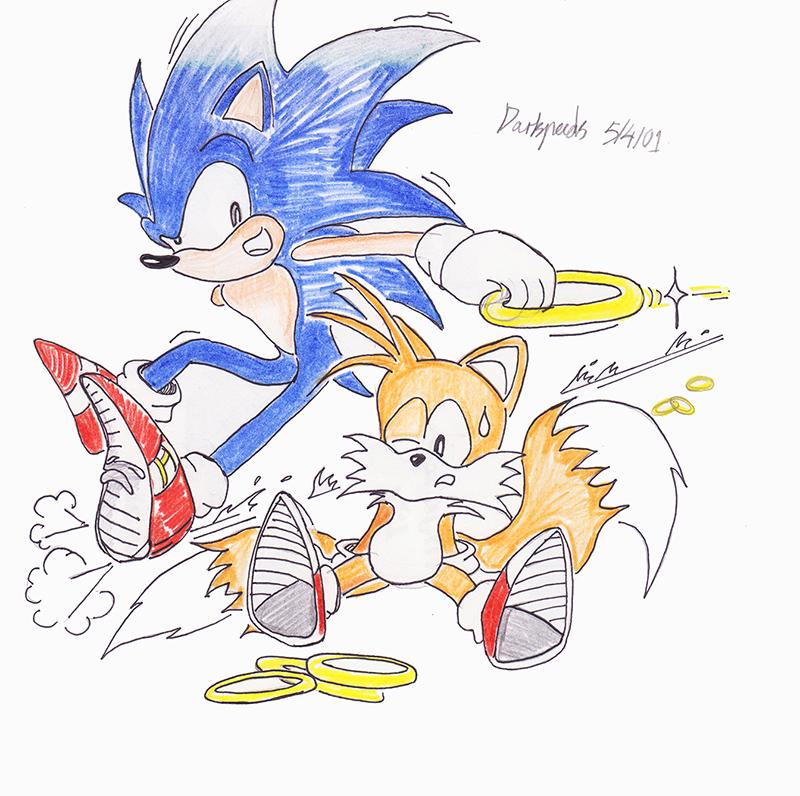 Elson's Sonic drawing 01 (DA) APR 2001 by darkspeeds