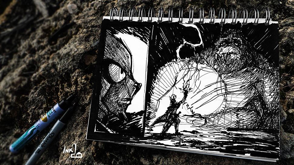 The Monster in the Cave (ink-twenty) by darkspeeds