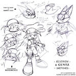 Sketches of Klonoa and Guntz