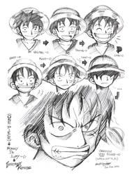 One Piece-Expression of Luffy by darkspeeds