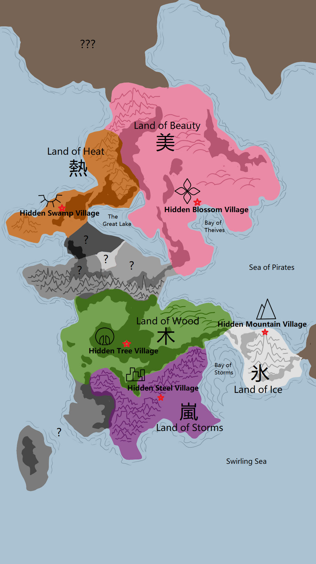 Map of the 5 Great Shinobi Nations by MagiMonster on DeviantArt