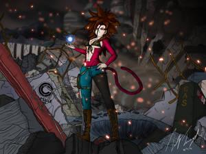 Hakiza Super Saiyan 4 in the Ruined City