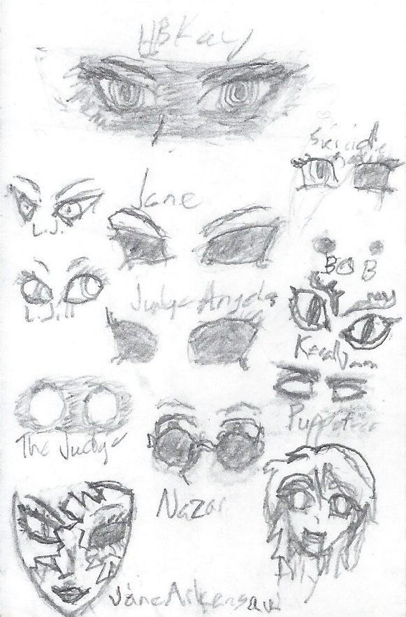 Sketchpad Musings #9: CreepyPasta Eye Practice by The-Metal-Maniac