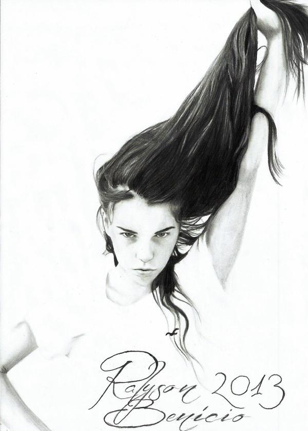 Holding a long hair ~