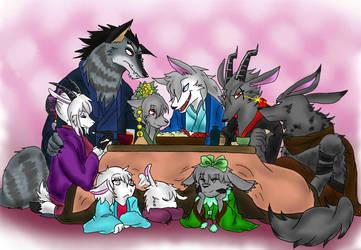 Family bonding Kotatsu by GrimmSkitz