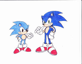 Two Sonic's by luiginotafraid