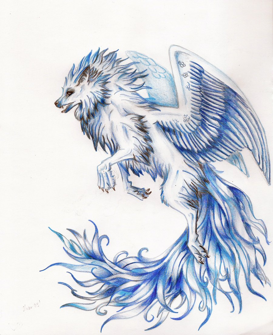 Winged white wolf