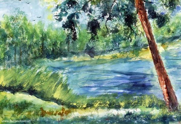 watercolor landscape by pnna