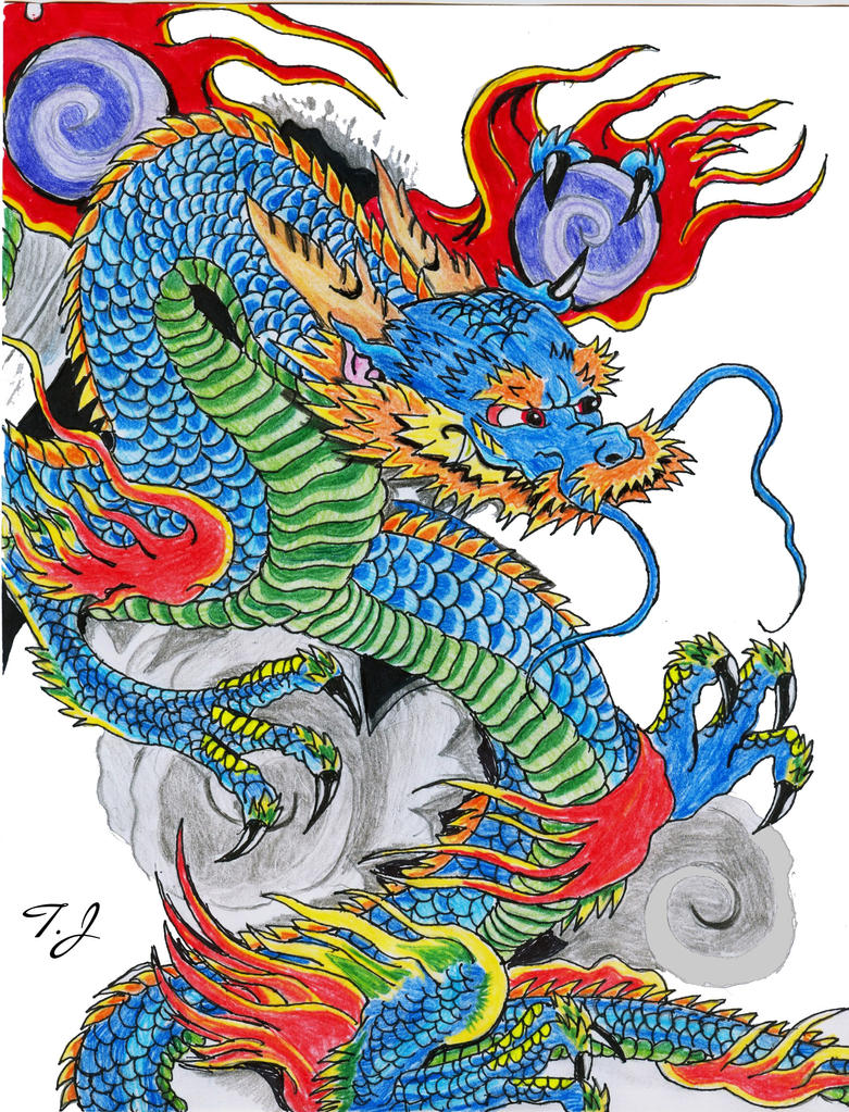 Blue chinese dragon again by silgan on deviantart for Japanese dragon painting