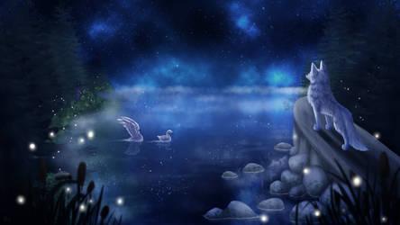 Da White Wolfy In The Galaxy Sky by ImazArtz