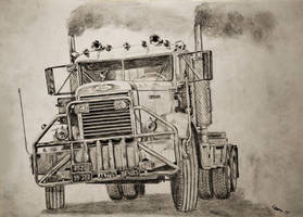 1965 Autocar Over the Top truck drawing by Darstrom