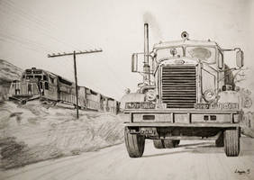 Duel - Truck vs Train drawing by Darstrom