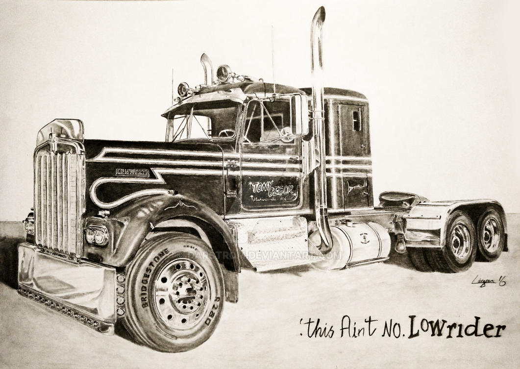 Semi Tractor Drawings : Kenworth w a drawing by darstrom on deviantart