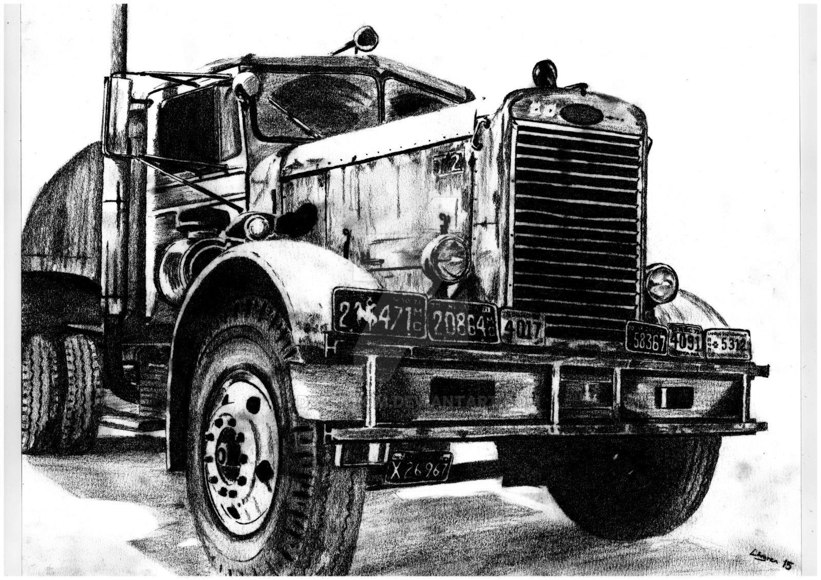 Semi Tractor Drawings : Duel peterbilt scan by darstrom on deviantart