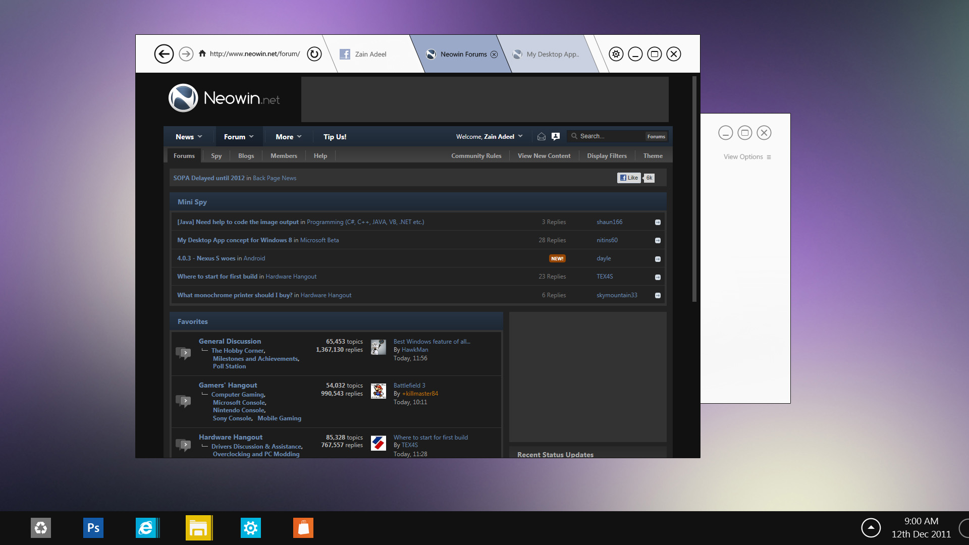 Windows 8 IE10 Desktop Concept by zainadeel