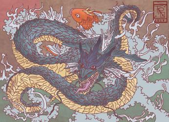 Gyarados-Dragon and Koi by tales-r-o