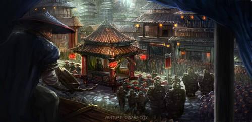 Zhongjie City Concept Art by ruoyuart