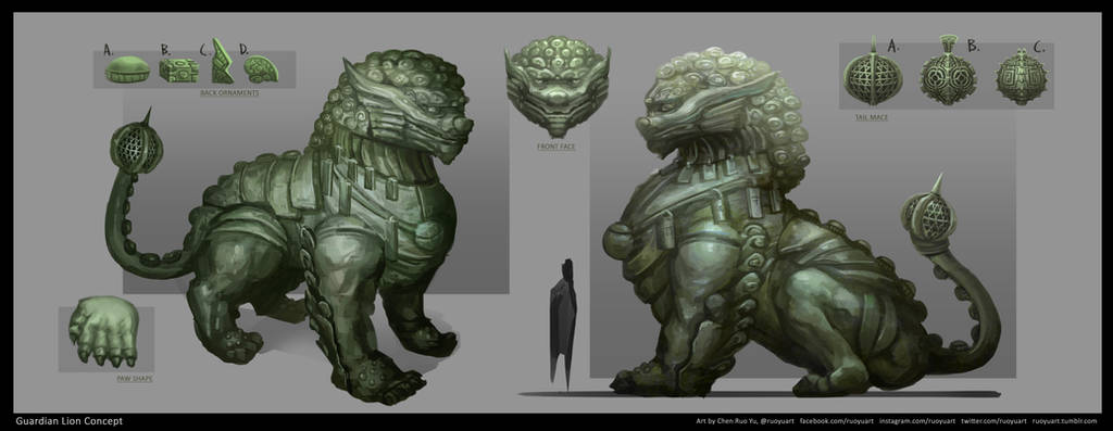 Cathay Guardian Lion Concept Art by ruoyuart