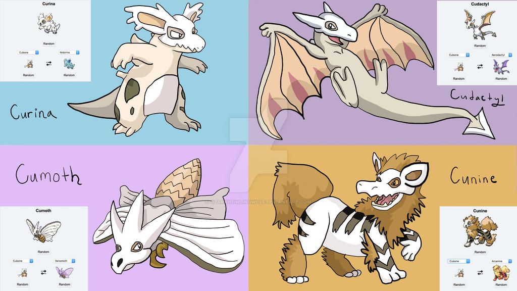 Kubone Pokemon Fusions by OzarkHowlingWolf