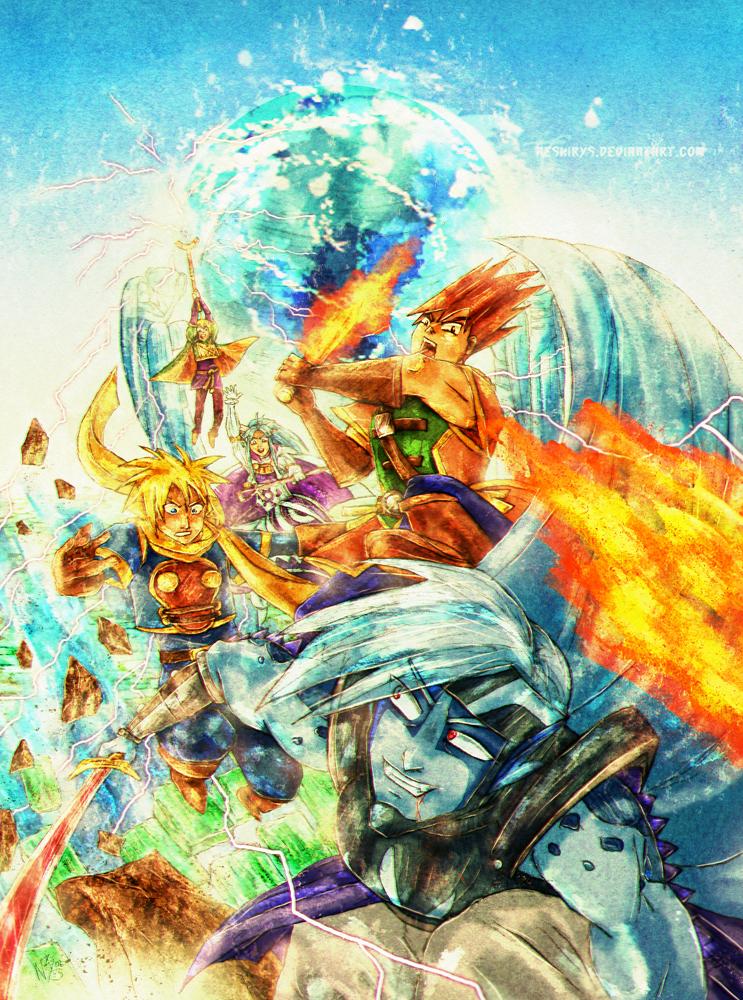 Golden Sun - Battle with Saturos by neshirys