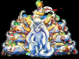 Pokemon Christmas - Snowmon Ninetales by neshirys