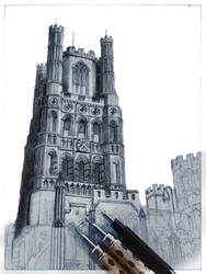 Drawing of Ely Cathedral WIP
