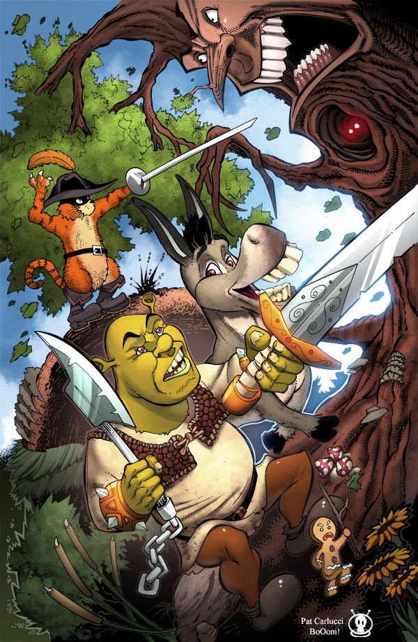 Shrek in dark woods