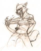 Werewolf female sketch by LiLaiRa