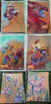 Traditional oil pastel works for sale!
