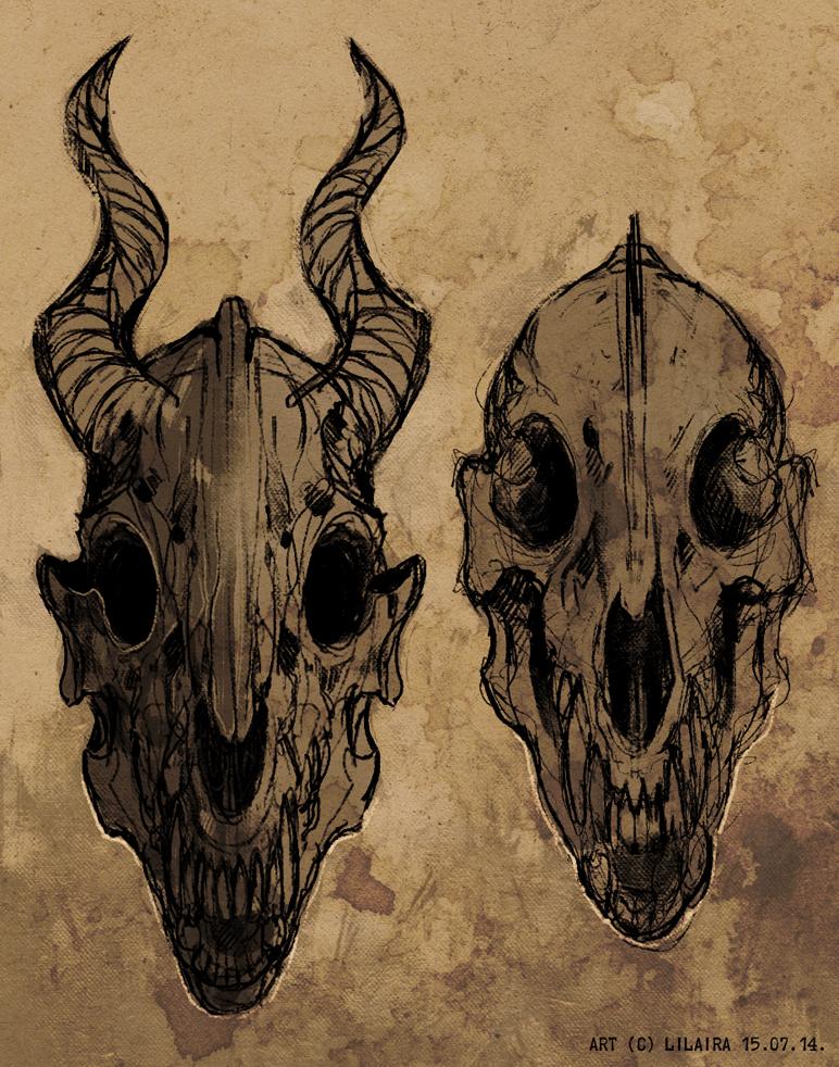 two random monster skulls by LiLaiRa