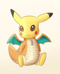 Pikachu in Dragonite costume