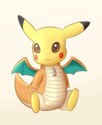 Pikachu in Dragonite costume