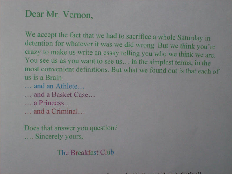 breakfast club essay questions Breakfast club essay breakfast club 1 brian is a perfectionist when it comes to school only once has he subject: breakfast.