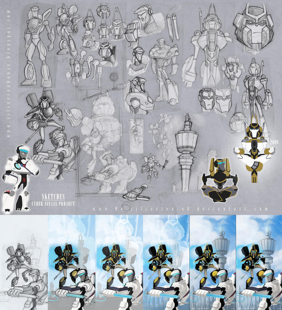 Sketches - Cyber Ninjas by silverteahouse
