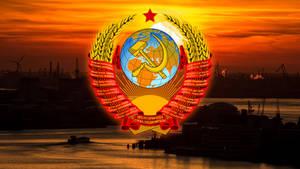 Soviet Industrial USSR Coat of Arms Wallpaper 5K