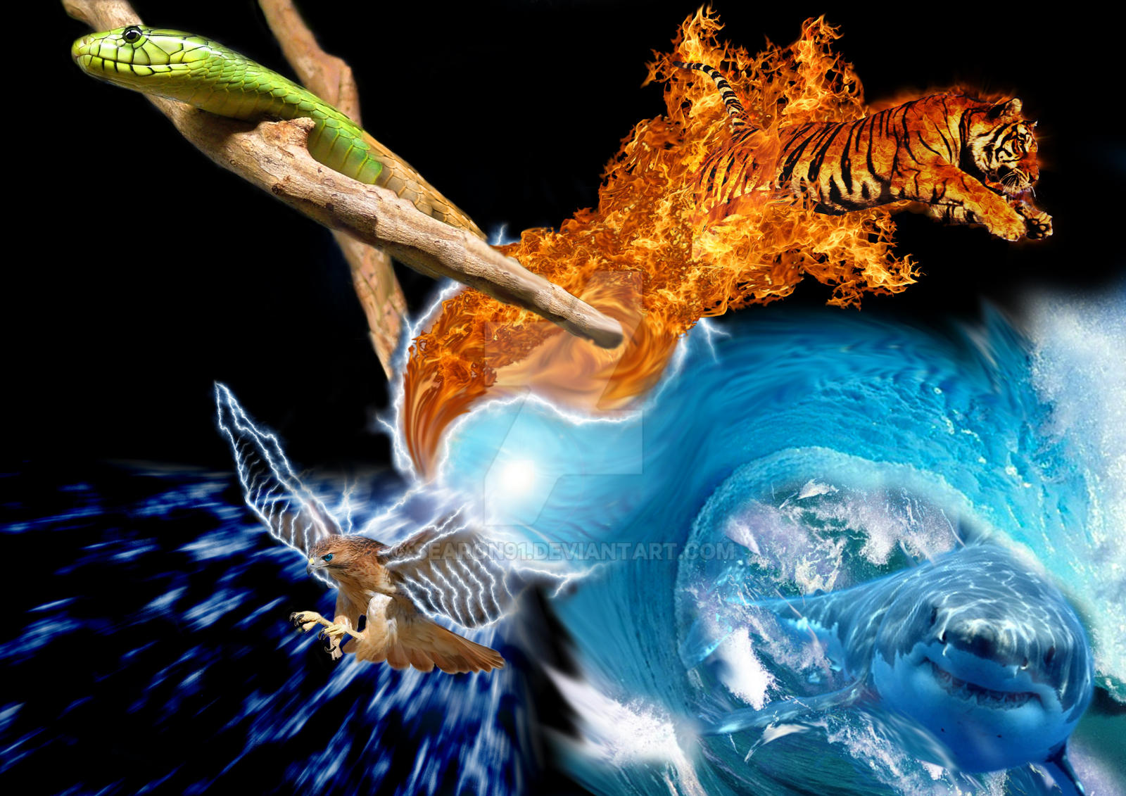 Four Elements Art : The four elements by searon on deviantart