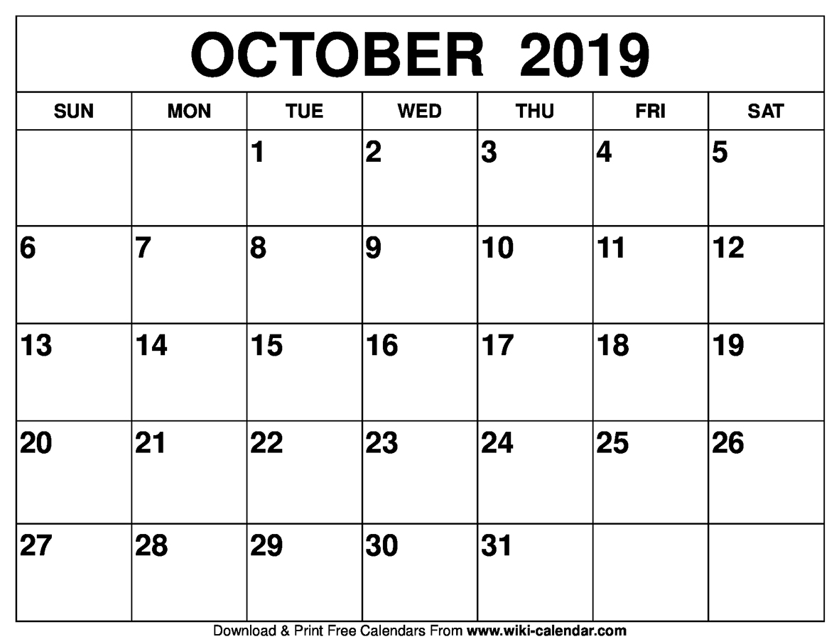 October 2019 Calendar Printable By Sharongore On Deviantart
