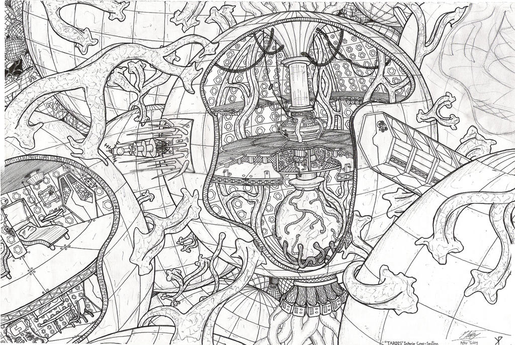 Tardis interior cross section by promus kaa on deviantart for Tardis coloring pages