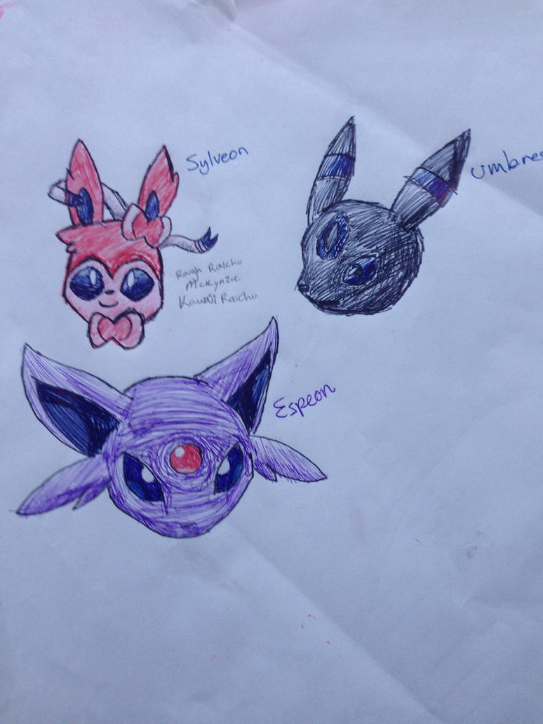 Sylveon, Umbreon and Espeon by KawaiiRaichu on deviantART
