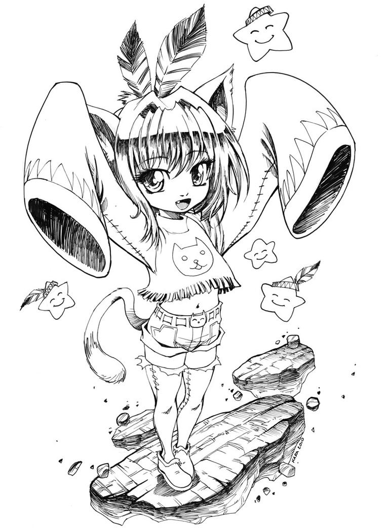 Anime Neko Girl Coloring Pages