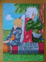 Jiraiya and Naruto by KarateNoKami