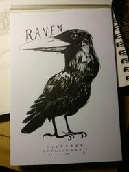 Inktober feat. Drawlloween #11 : RAVEN by Myev07