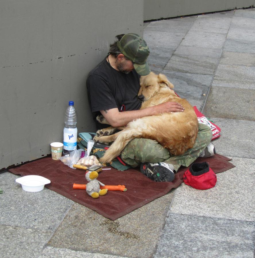 man loves dog by Stasia-Gonchar