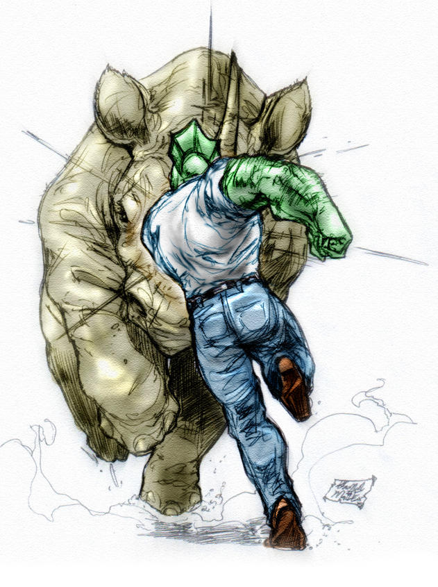 Savage Dragon vs Rino by caananwhite