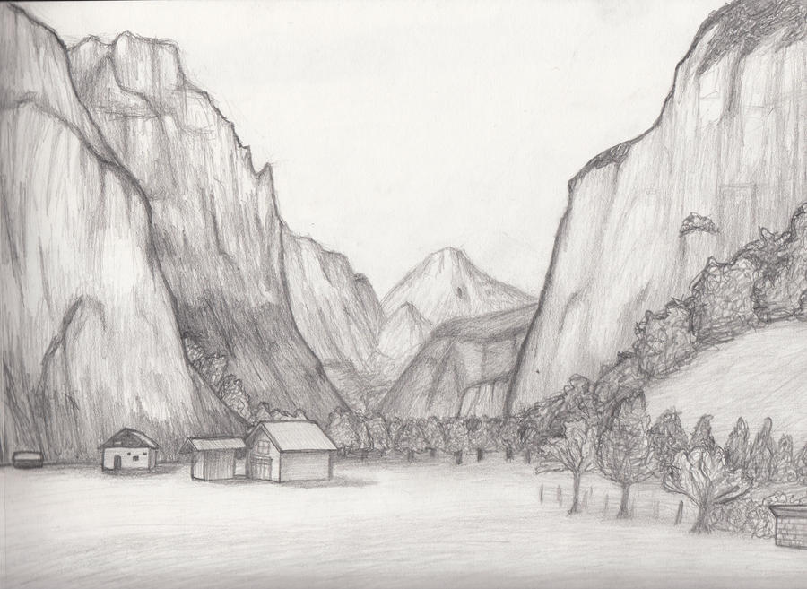 Landscape sketch 9 by whimsy floof on deviantart for Landscape pencil sketches simple