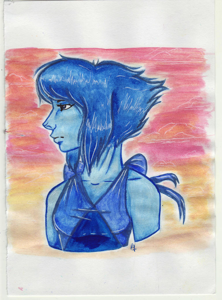 Idk I just kinda wanted to do a watercolor Lapis, but the paper i chose was garbage ))) I kinda hope she comes back tbh :/
