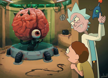 Rick and Morty in Lost island facing a final boss by Carrot-Ache